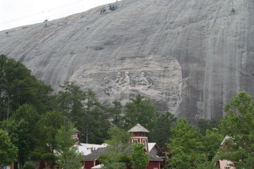 Das sind Stonewall Jackson, Robert E. Lee und Jefferson Davis von den Konföderierten